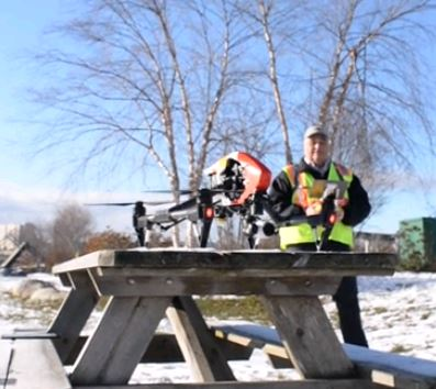 Drone on picnic table